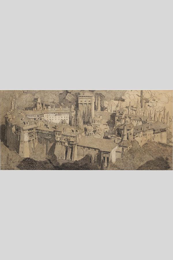 """Paul Jouve (1878-1973), """"Mont Athos"""", dessin à la plume, dimensions encadré 58,5x99 cm, galerie Tourbillon, Paris"""