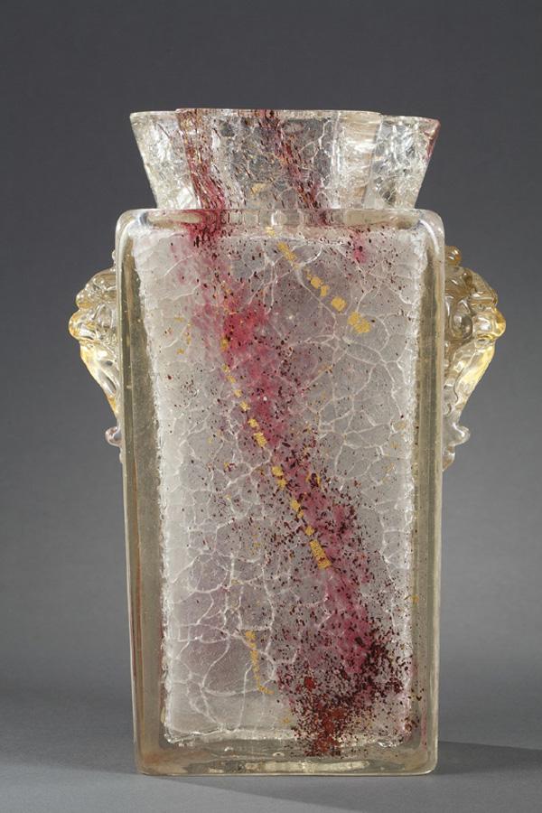Ernest Léveillé (1841-1913), Vase, verre, Haut. 26,5 cm. sculptures, verreries - galerie Tourbillon, Paris