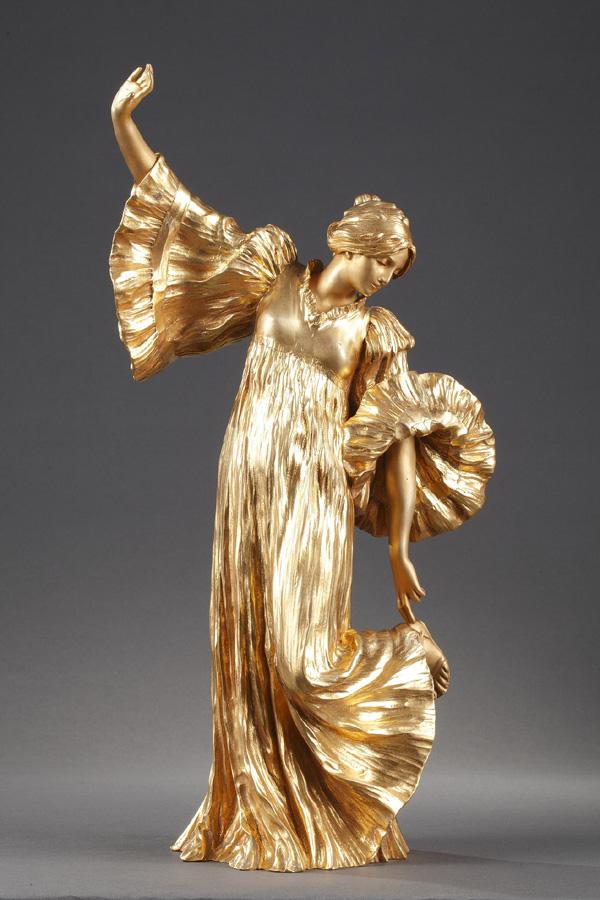 """Agathon Léonard (1841-1923), """"Danseuse aux Cothurnes"""", bronze à patine dorée, fonte Susse, haut. 36,5 cm, sculptures - galerie Tourbillon, Paris"""