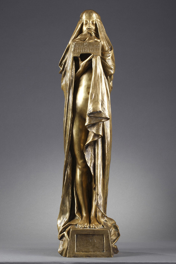 "Pierre-Félix Fix-Masseau (1869-1937), ""Le Secret"", bronze à patine dorée, fonte Siot, haut. 62 cm, sculptures - galerie Tourbillon, Paris"