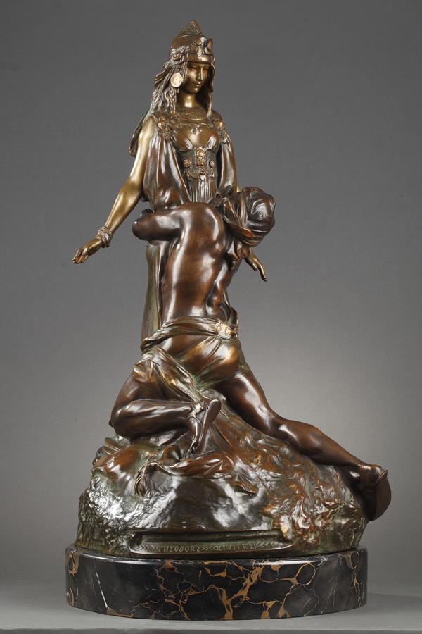 """Théodore Rivière (1857-1912), """"Salammbô chez Mathô"""", bronze à patine brun-vert nuancé et mordoré, socle en marbre Portor, fonte Susse, haut. totale 71 cm, sculptures - galerie Tourbillon, Paris"""