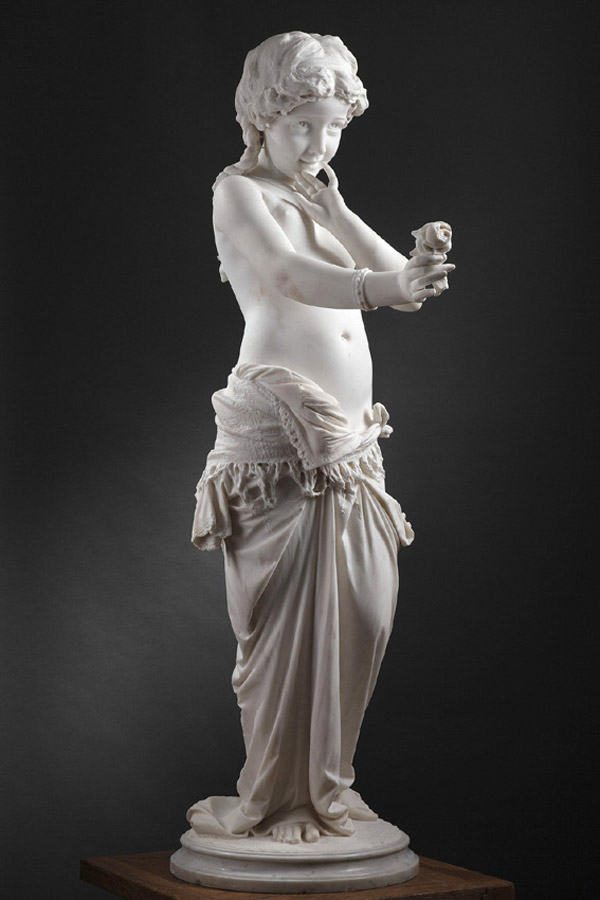 "Pietro Guarnerio (1842-1881), ""Rose innocente"", marbre blanc de Carrare, 1872, haut. 132 cm, sculptures - galerie Tourbillon, Paris"