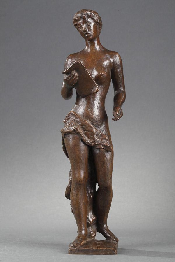 """Hubert Yencesse (1900-1987), """"Le Chant"""", bronze à patine brun vert nuancé, fonte Rudier, haut. 33 cm, sculptures - galerie Tourbillon, Paris"""