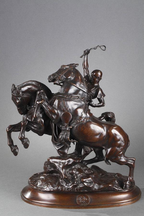 """Emmanuel Fremiet (1824-1910), """"Cocher Romain"""", bronze à patine brun nuancé, fonte More, haut. 41,2 cm, sculptures - galerie Tourbillon, Paris"""