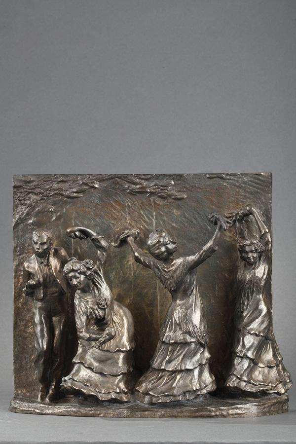 """François-Rupert Carabin (1862-1932), """"La Posada"""", bronze à patine argentée, long. 26,5 cm, sculptures - galerie Tourbillon, Paris"""