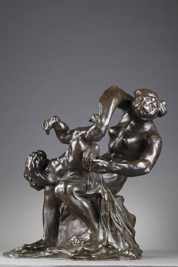 """Alfred Pina (1887-1966), """"La Toilette du Bébé"""", bronze à patine brun-vert foncé nuancé, fonte Barbedienne, haut. 41,5 cm, sculptures - galerie Tourbillon, Paris"""