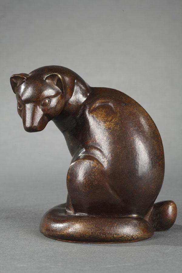 """Gaston Le Bourgeois (1880-1956), """"Genette"""", bronze à patine brun très nuancé, haut. 9,8 cm, sculptures - galerie Tourbillon, Paris"""