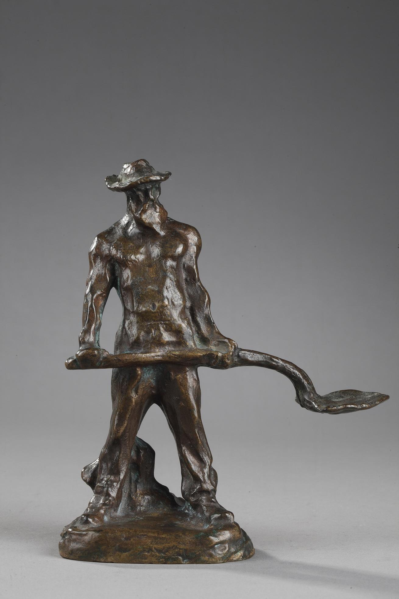"""Jules Dalou (1838-1902), """"Terrassier"""", bronze à patine brun foncé, fonte ancienne, haut. 14 cm, sculptures - galerie Tourbillon, Paris"""