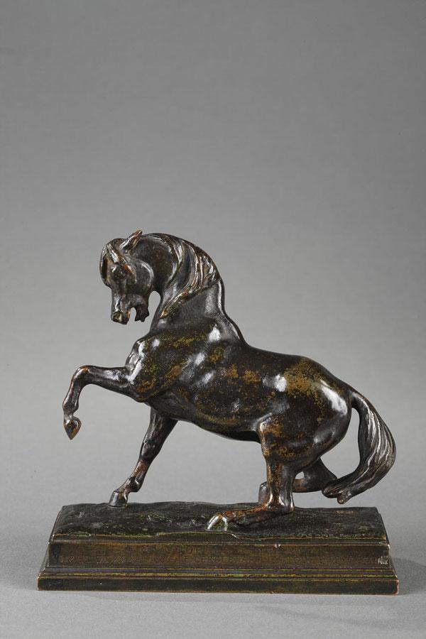 """Antoine-Louis Barye (1796-1875), """"Cheval turc"""", bronze à patine brun-vert très nuancé, fonte Barbedienne, Cachet Or, haut. 12,5 cm, sculptures - Galerie Tourbillon, Paris"""