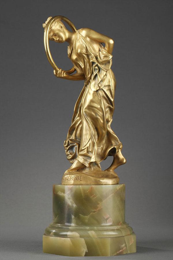 """Jean-Léon Gérôme (1824-1904), """"Danseuse au Cerceau"""", bronze à patine dorée, fonte Siot, socle en onyx, haut. 31,8 cm, sculptures - galerie Tourbillon, Paris"""