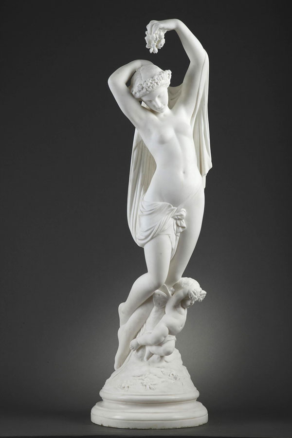 """James Pradier (1790-1852), """"Le Jour"""", marbre blanc de Carrare, haut. 100 cm, sculptures - galerie Tourbillon, Paris"""
